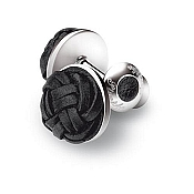 Pineider Silver and Braided Leather Knot Cufflinks - Round
