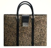 Pineider Cavallino Leather Womens Briefcase - Leopard-Limited Edition