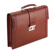 Pineider Power Elegance Leather Briefcase-Double Gusset-Reddish Brown