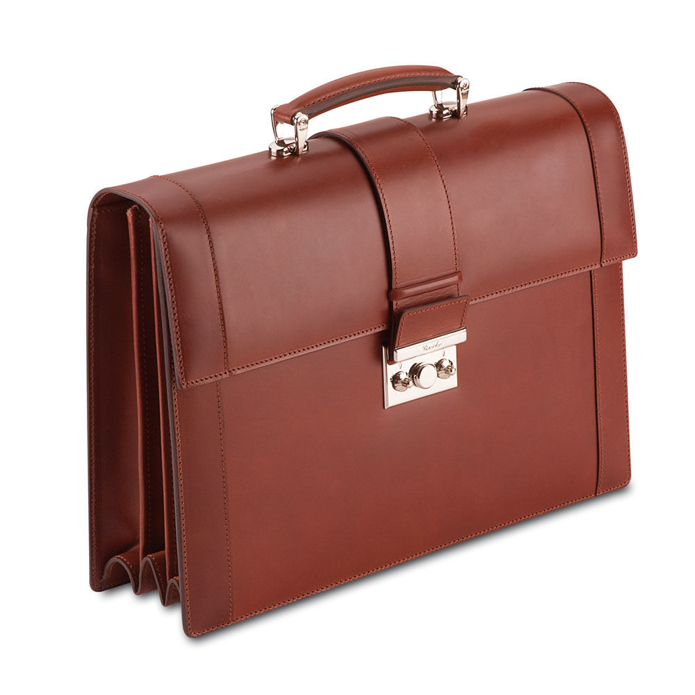 Pineider Power Elegance Leather Briefcase - Triple Gusset for men is ...
