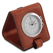 Pineider Power Elegance Leather Travel Alarm Clock