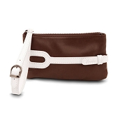 Pineider Small Leather Purse - Brown White