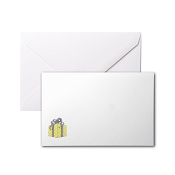 Pineider Birthday Card - Present with Ribbons - White - Small