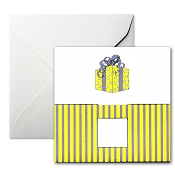 Pineider Birthday Card - Present with Ribbons - White - Square