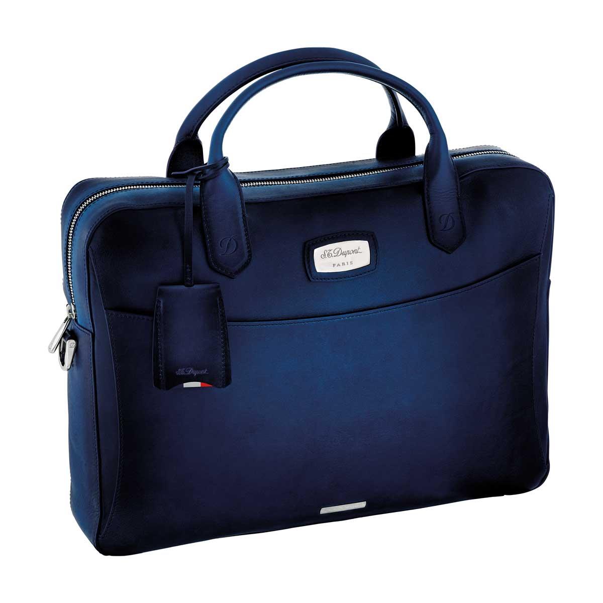 St dupont atelier midnight blue leather laptop bag for Document holder bag