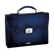ST Dupont Atelier Single Gusset Leather Briefcase - Midnight Blue