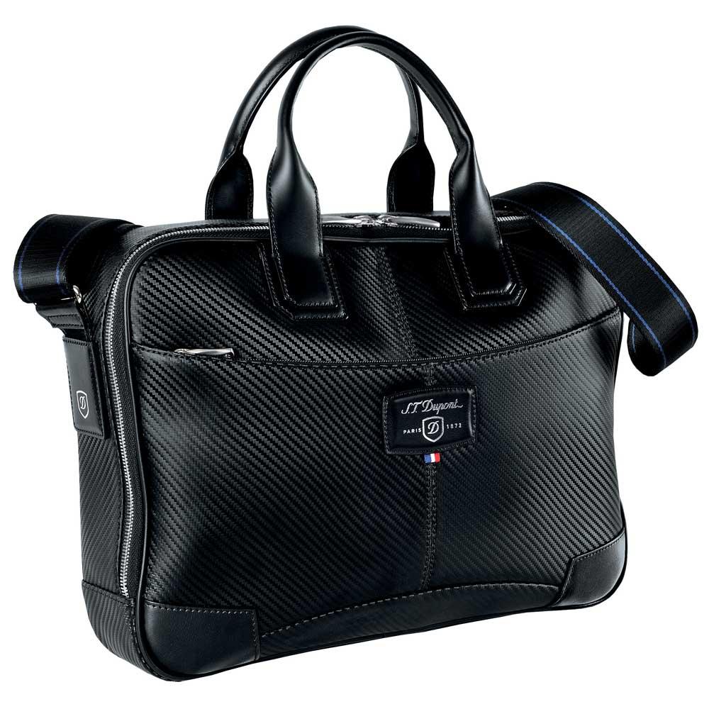 St dupont defi black carbon leather small laptop for Document holder bag