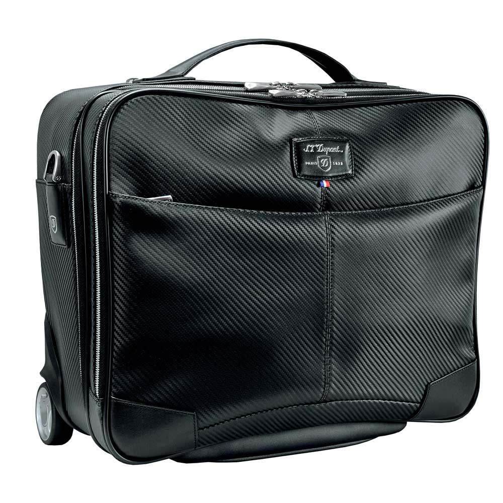 St dupont defi black carbon leather rolling luxury laptop for Document holder bag