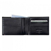 ST Dupont Line D 8 Credit Card ID Papers Black Men's Leather Wallet