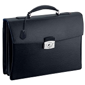 ST Dupont Line D Double Gusset Black Contraste Luxury Leather Briefcase