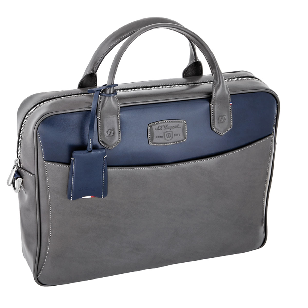 St dupont line d grey blue duotone leather document for Document holder bag