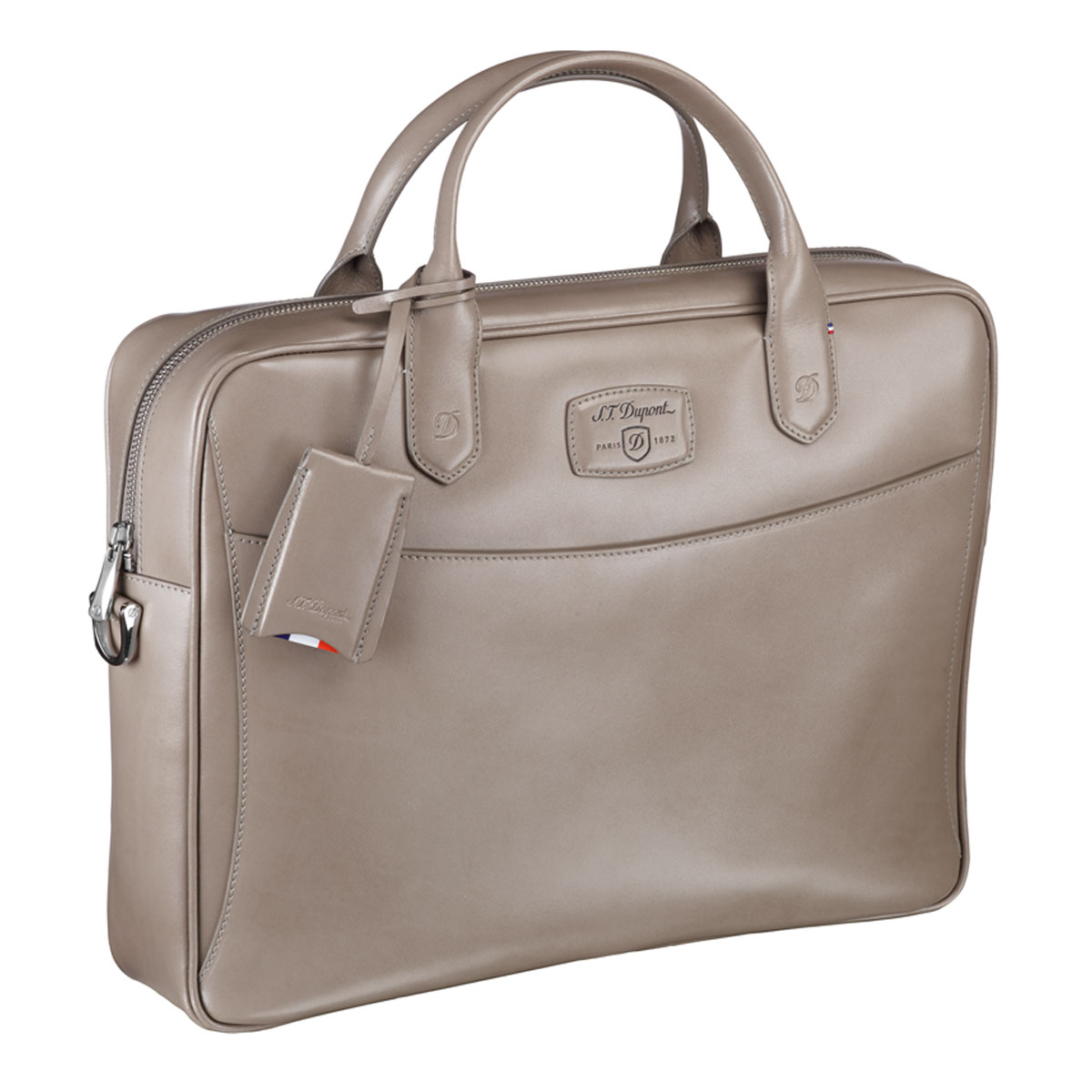 St dupont line d taupe leather document holder bag for Document holder bag