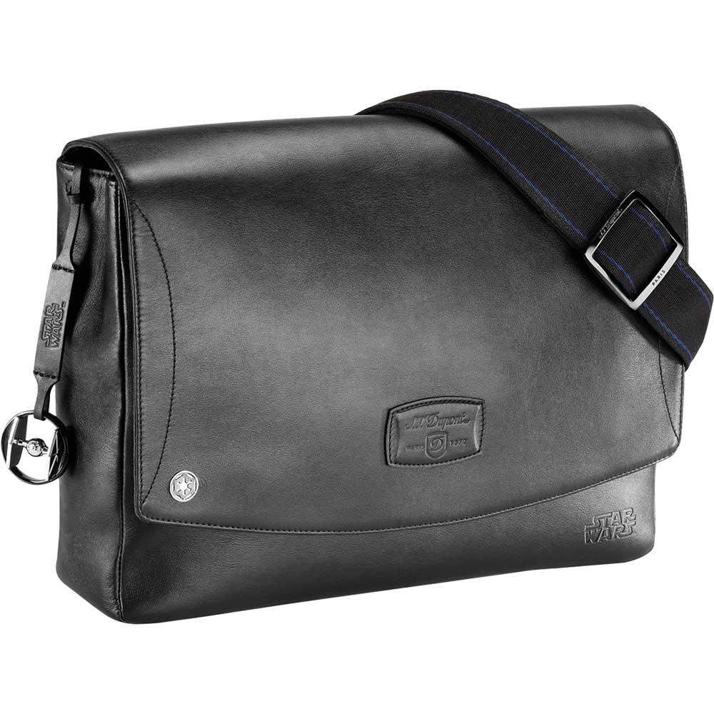 St Dupont Star Wars Leather Laptop Messenger Bag Black