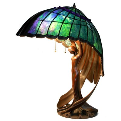 Flying Lady - Aqua Shade Tiffany Lamp