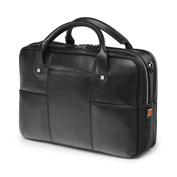 Fedon 1919 British BT-FILE-2-ZIP Black Leather Executive Luxury Laptop Bag