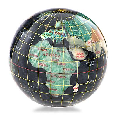 Black Opalite Gemstone Globe Paperweight