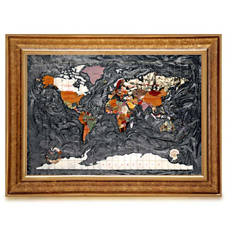 Black Opalite Gemstone Globe World Map (MAPC-BO)