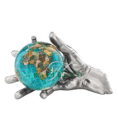 Bahama Blue World In Your Hand Gemstone Globe Paperweight - Silver