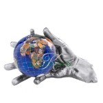 Caribbean Blue World In Your Hand Gemstone Globe Paperweight - Silver
