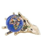 Caribbean Blue World In Your Hand Gemstone Globe Paperweight - Gold