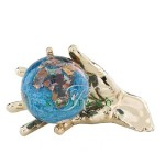 Marine Blue World In Your Hand Gemstone Globe Paperweight - Gold