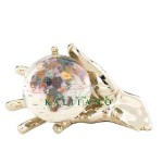 Opalite World In Your Hand Gemstone Globe Paperweight - Gold
