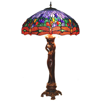 Nude Lady W/ Blue Dragonfly Shade Tiffany Lamp (A3-619B)