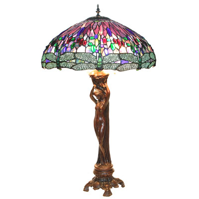 Nude Lady - Purple Dragonfly Shade Tiffany Lamp
