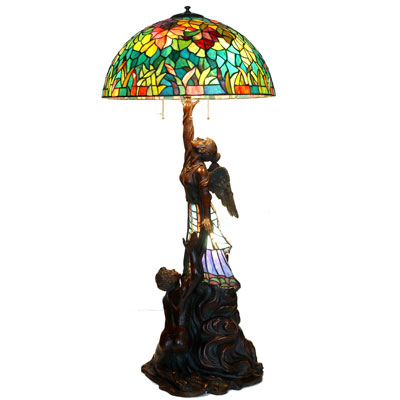 Guardian Angel With Autumn Leaves Shade Tiffany Lamp (A3-642)