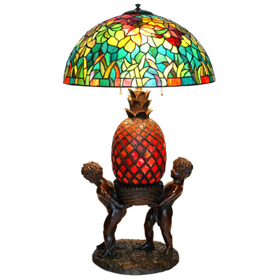Pineapple - Autumn Leaves Shade Tiffany Lamp