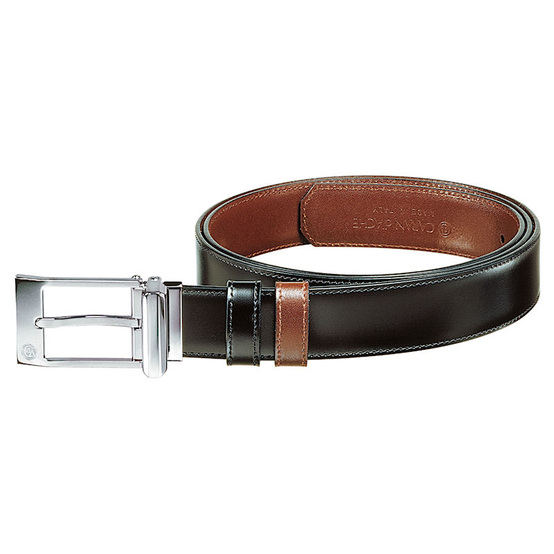 Caran d'Ache Classic Palladium Plated Rectangle Buckle Reversible Belt