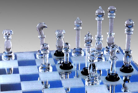 Hand Moulded Glass Chess Set-Small