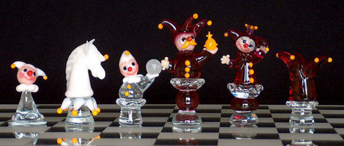 Traditional Small Clown Limited Edition Crystal Chess Set
