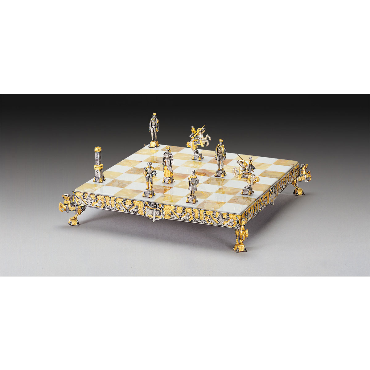 Medieval Themed Chess Set - Gold & Silver - Small