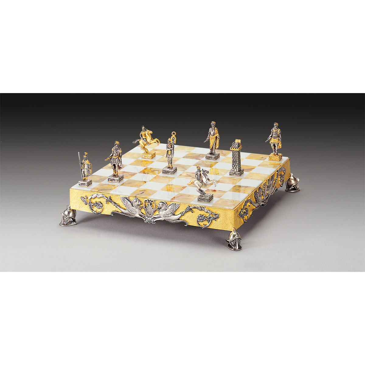 Caesar Augustus Roman Empire Themed Chess Set | Gold & Silver