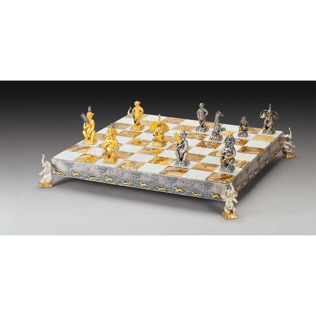 Jungle Animals Gold and Silver Themed Chess Board