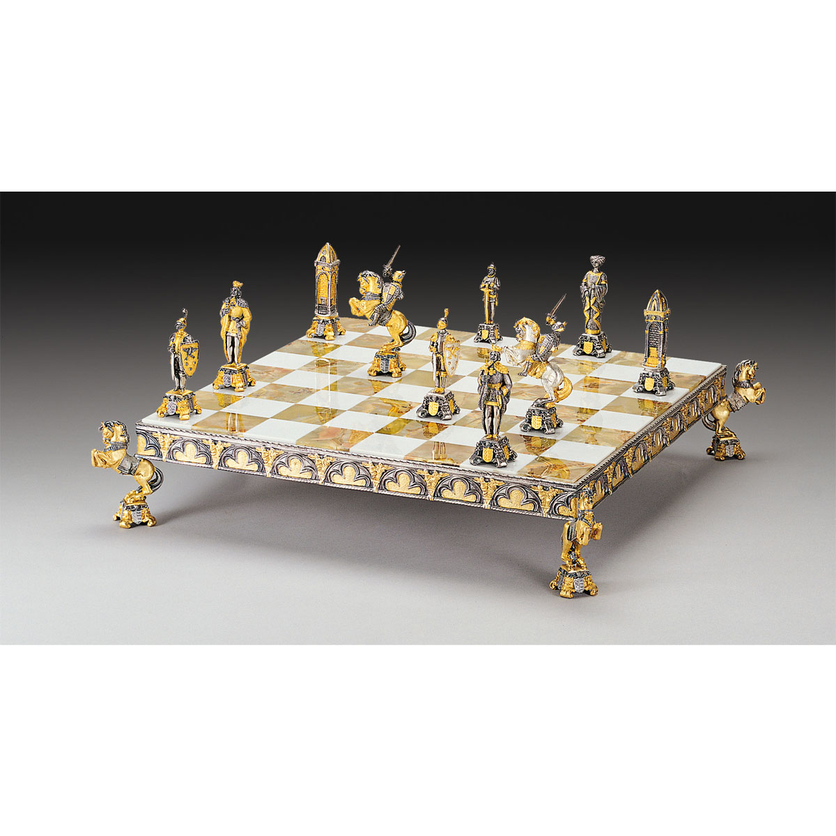 Medieval Themed Chess Board - Gold & Silver - Medium