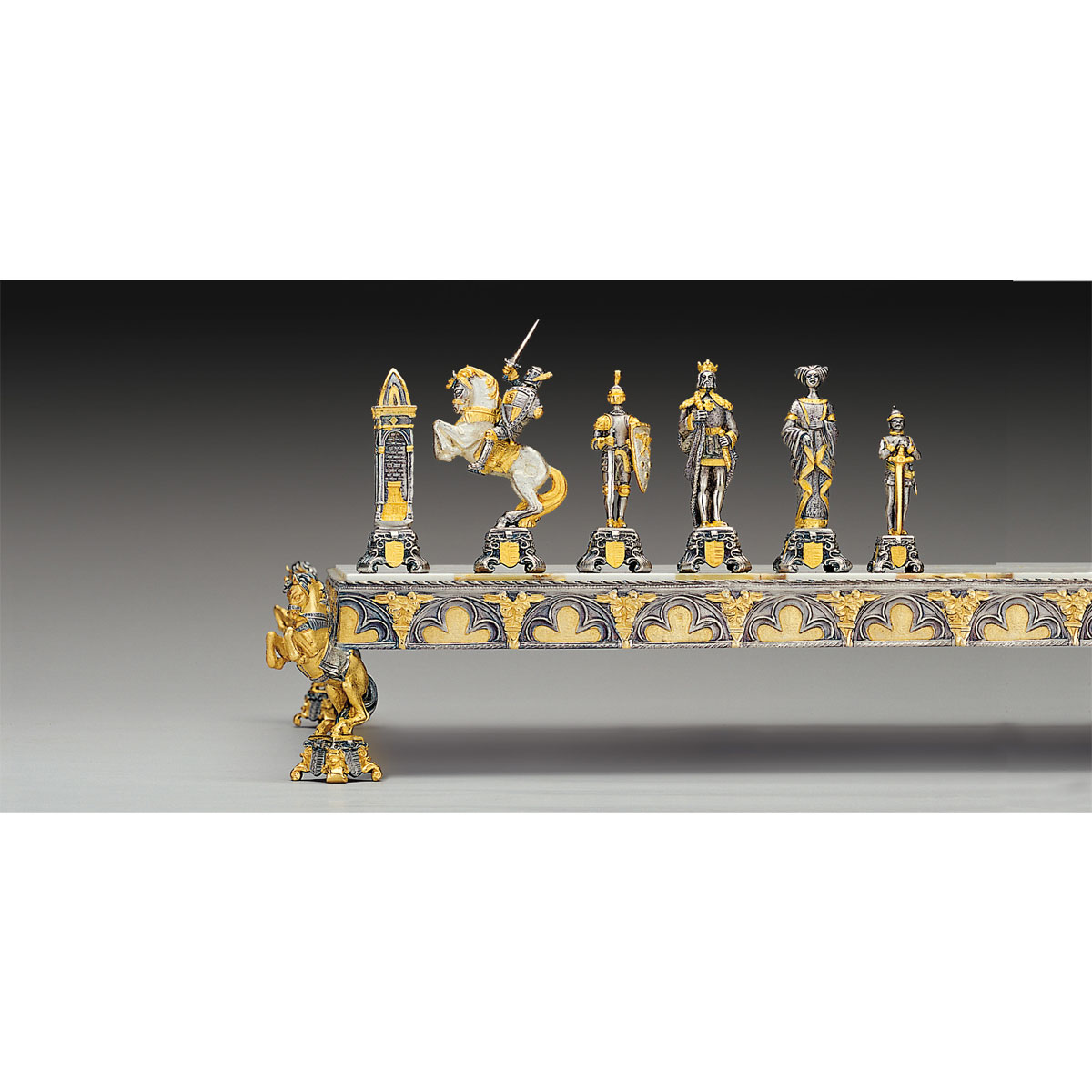 Medieval Themed Chess Pieces - Gold & Silver - Medium