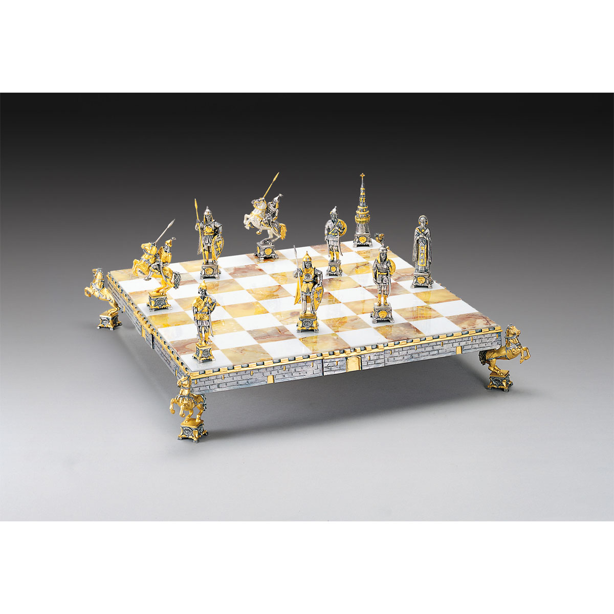 Dmitry Donskoy - Russian Prince Gold and Silver Themed Chess Board