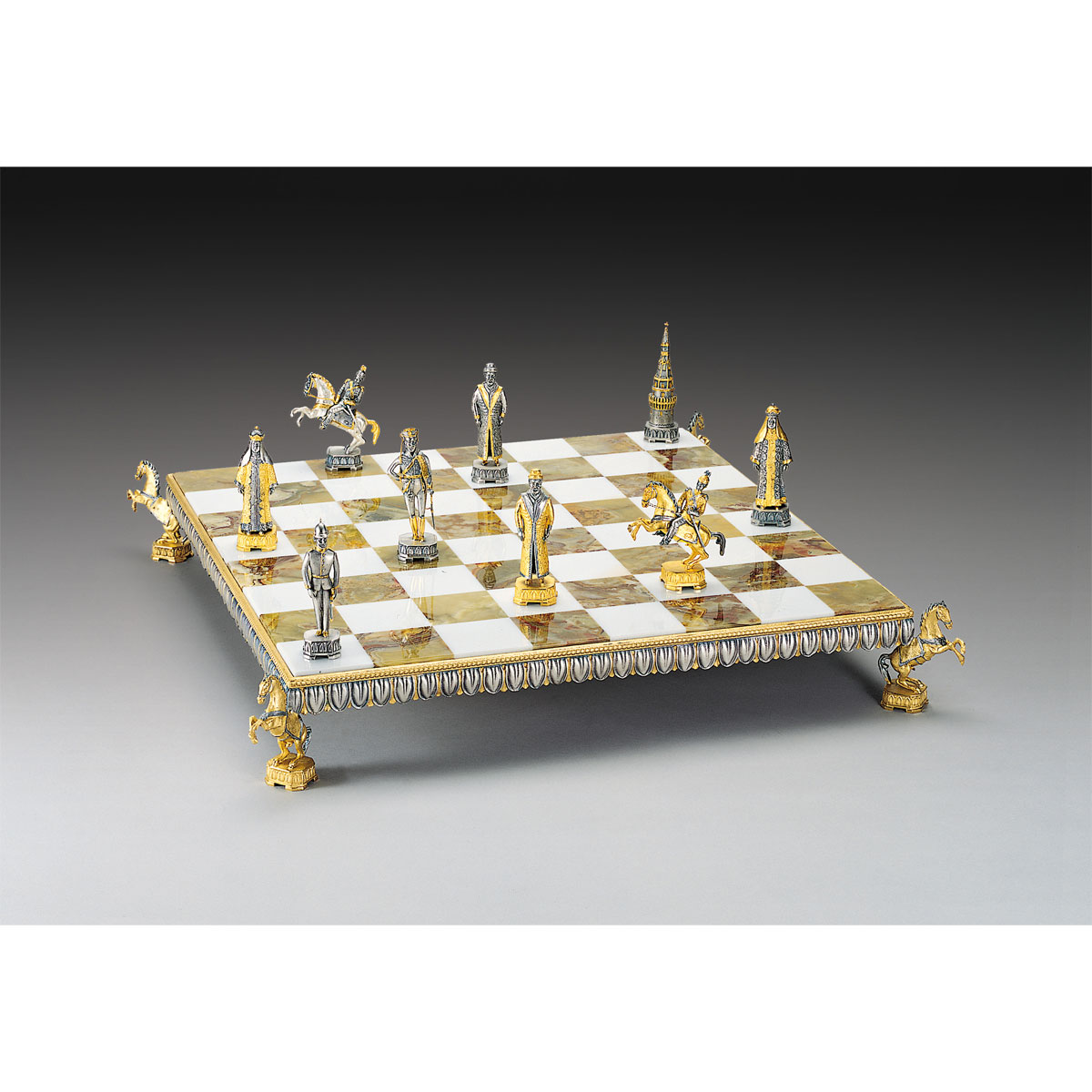 19th Century Kremlin Gold and Silver Themed Chess Board