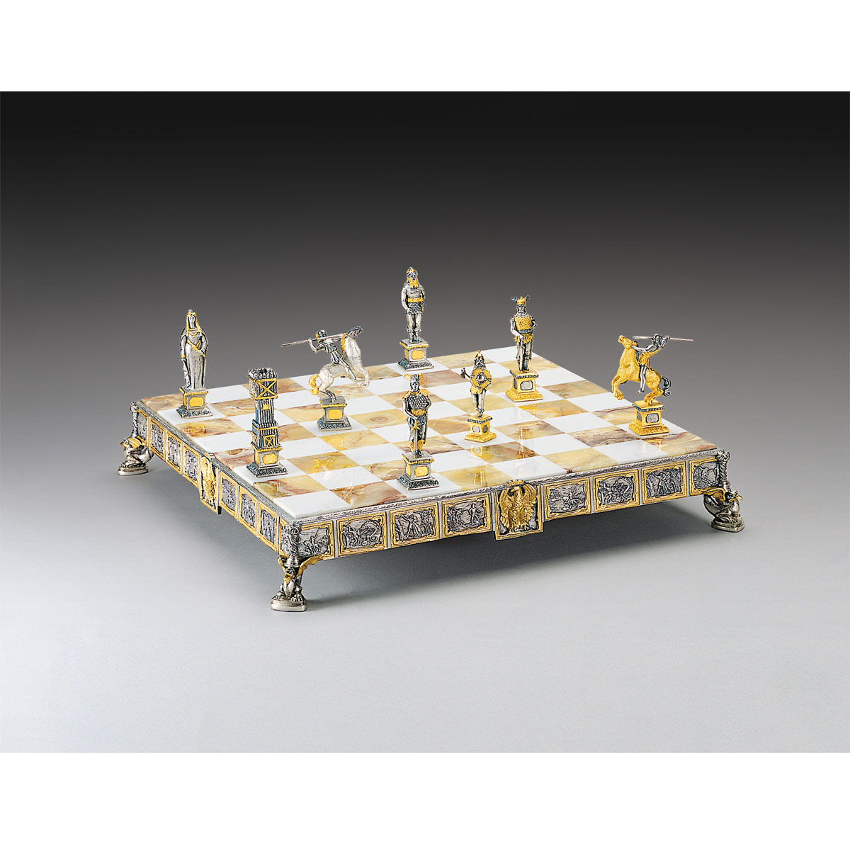 Siegfried King Of The Nibelungs Themed Chess Board | Gold & Silver