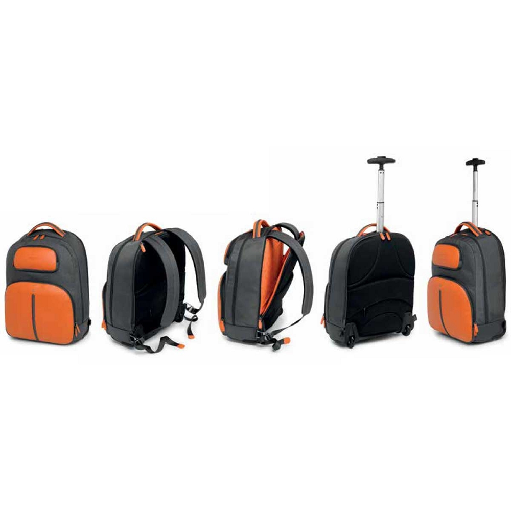 Fedon 1919 Travel Luggage Orange Grey Laptop Backpack with Wheels b6d5f706739