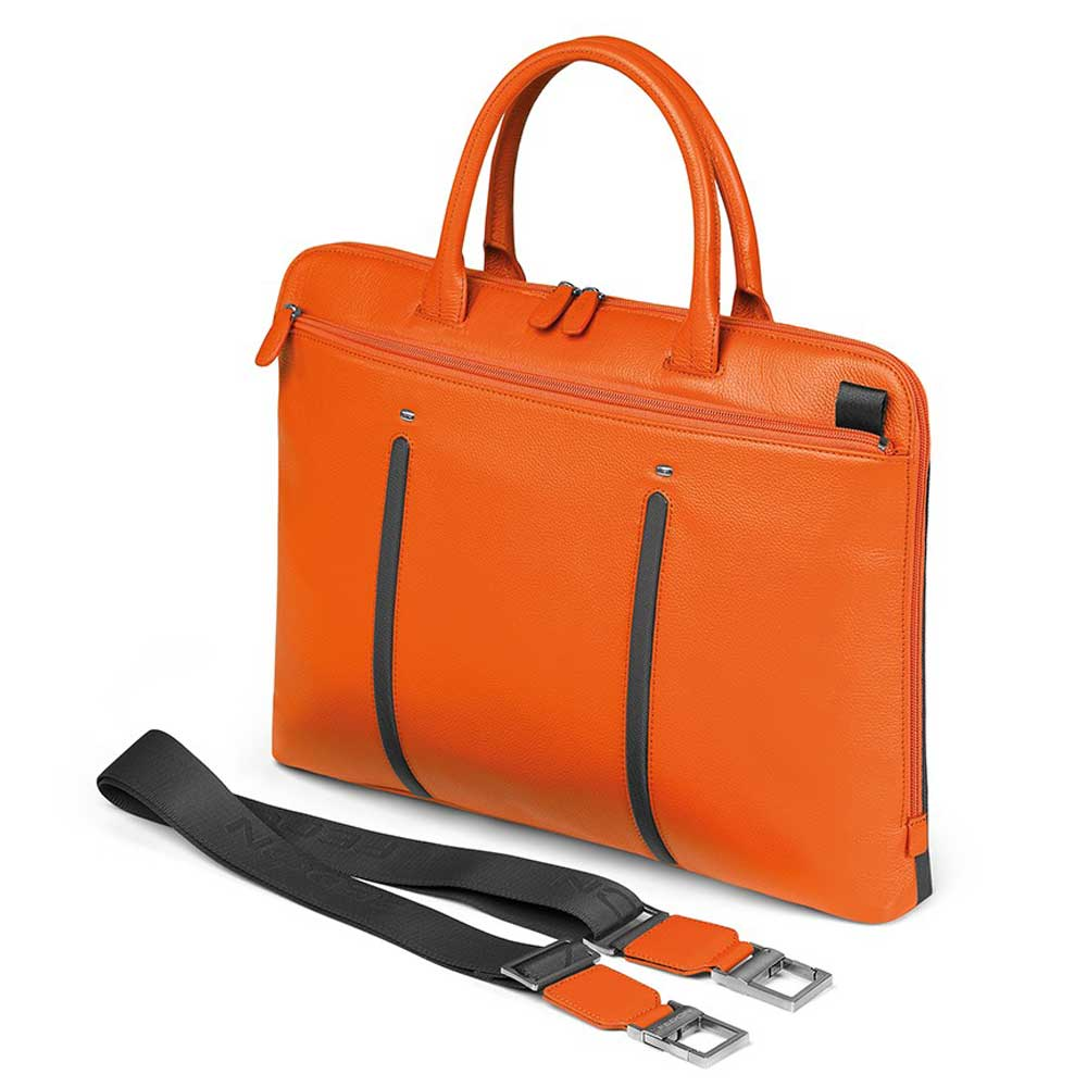 Fedon 1919 Slim Laptop Bag In Orange Calfskin And Grey Nylon Also Available Black Brown Blue