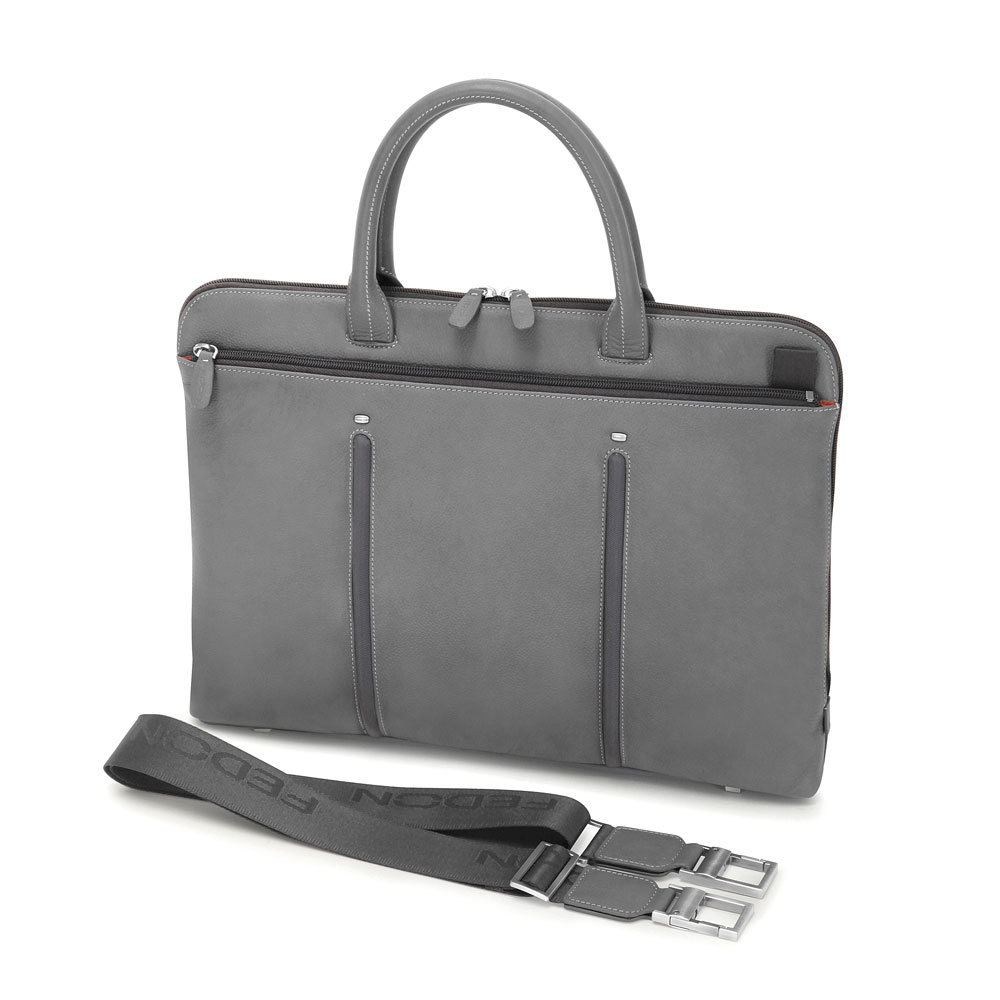 Fedon 1919 Slim Laptop Bag In Grey Calfskin And Nylon Also Available Black Orange Green Brown Blue