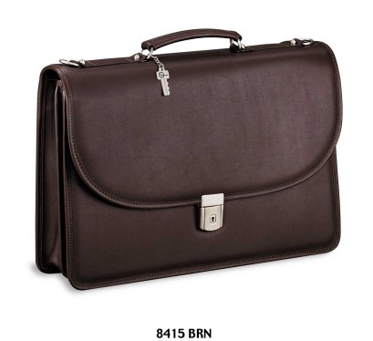 Jack Georges Platinum Double Gusset Flap Leather Briefcase with Open Back Pocket