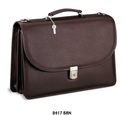 Jack Georges Platinum Triple Gusset Flap Leather Briefcase with Open Back Pocket