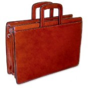 Jack Georges Sienna Triple Gusset Top Zip Leather Briefcase