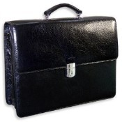 Jack Georges Sienna Triple Gusset Flap Over Leather Briefcase