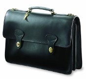 Jack Georges University Double Gusset Flap Over Leather Briefcase - 2 Turnlocks