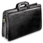 Jack Georges University Two Gusset Top Zip Tri-Pocket Portfolio Leather Briefcase